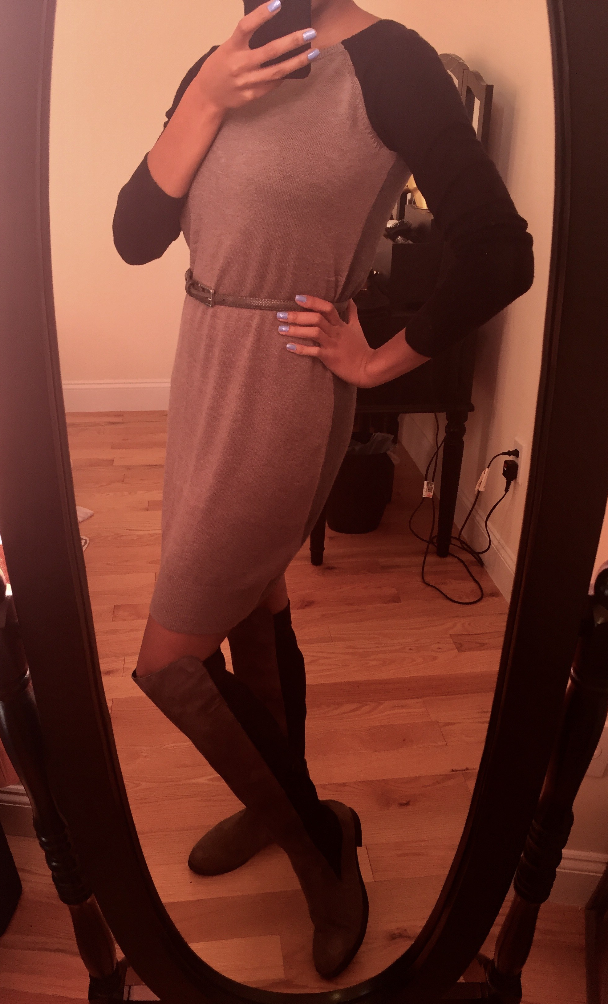 Black and gray over the knee boots, gray and black color block dress, silver skinny belt. Photo by Mara Lucas