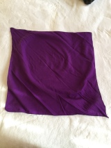Square, purple headscarf unfolded on white background.